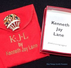 "KJL Kenneth Jay Lane Multi Color Crystal ""Gift Basket"" Pin #KennethJayLane"