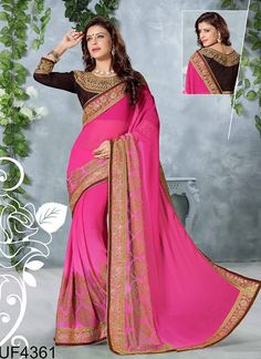 723646 Pink and Majenta color family Embroidered Sarees,Party Wear Sarees in Silk fabric with Border,Machine Embroidery,Thread,Zari work with matching unstitched blouse. Bollywood Designer Sarees, Indian Designer Sarees, Latest Designer Sarees, Ethnic Outfits, Indian Outfits, Fashion Outfits, Indian Clothes, Saree Dress, Sari