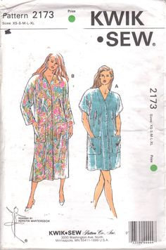 Kwik Sew 2173  1990s Misses V Neck Robe  Pattern Two Lenghts by mbchills