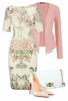 Floral Easter dress and pink blazer