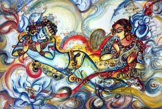 Unique Contemporary Original Painting Krishna Playing Flute