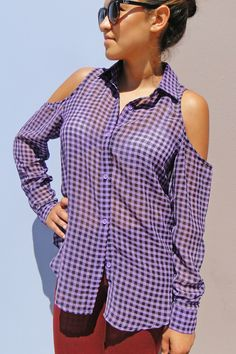 Checkered cold shoulder shirt  Available in store at Dreamgirls and NOW at www.shopdreamgirls.com