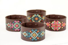 DIY Cross Stitch Kit Leather Cuff Red Gate by fabricsupply Modern Cross Stitch, Cross Stitch Kits, Cross Stitch Designs, Cross Stitch Embroidery, Diy Embroidery, Stitching Leather, Leather Cuffs, Brown Leather, Leather Accessories