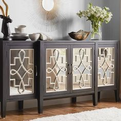 Store your extra dinnerware, flatware, and table linens in a buffet table or sideboard. Shop our great selection of stylish buffet tables and sideboards. Mirrored Sideboard, Mirrored Furniture, Hooker Furniture, Sideboard Buffet, Furniture Sale, Dining Furniture, Buffet Tables, Modern Credenza, Console Tables