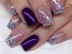 25 Glamorous Glitter Nail Arts for Christmas Everyone knows that glitter nail art is a constant favorite. Almost every girl and woman love to have glitter on their nails. Glitter can give an extra edge to your nail and send sparkles in dull mome Nail Design Glitter, Purple Glitter Nails, Purple Nail Art, Purple Nail Designs, Glitter Nail Art, Nail Art Designs, Nails Design, Purple And Silver Nails, Glitter Makeup