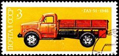 USSR- CIRCA 1976:  A stamp printed in the USSR shows the GAZ-51 truck, the most popular Soviet truck made by the Gorky Automobile Plant company, circa 1976. photo
