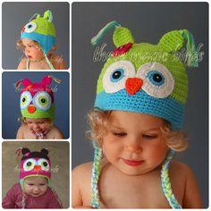 Baby Girl GREEN & LIGHT BLUE Sweet Crochet Owl by ThreeMagicBirds, $14.99