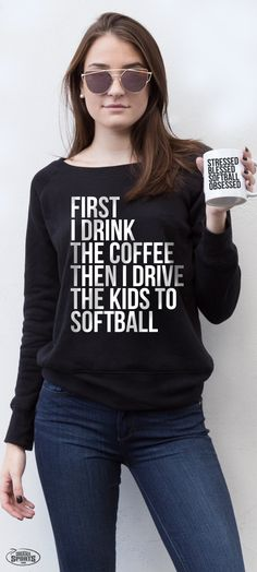 This one's for you, softball moms! Cozy up with a cup of coffee and our soft wide-neck fleece sweatshirt before heading out to the big game! From our NEW #softballlife collection, for players, parents and fans!