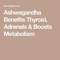 Ashwagandha Benefits Thyroid, Adrenals & Boosts Metabolism