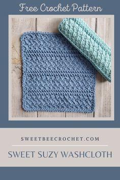 Sweet Suzy Washcloth - Free Crochet Pattern - Sweet Bee Crochet Cotton Crochet Patterns, Knitted Washcloth Patterns, Crochet With Cotton Yarn, Dishcloth Knitting Patterns, Crochet Square Patterns, Dishcloth Crochet, Wash Cloth Crochet Pattern, Crochet Scrubbies, Crochet Cable