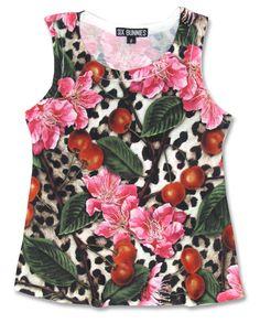 Leopard print cherry blossom six bunnies tank top