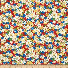 Aunt Grace Ties One On Floral Bouquet Red from @fabricdotcom  Designed by Judie Rothermel for Marcus Fabrics, this cotton print is perfect for quilting, apparel and home decor accents. Colors include white, red, blue, black, yellow and green.