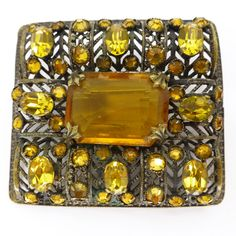 Vintage Art Deco Czech Amber Glass Ornate Paste Brooch   Clarice Jewellery   Vintage Costume Jewellery