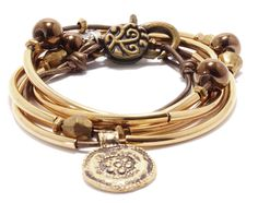 Autumn leather wrap bracelet in Metallic Bronze leather, comes as shown above with goldplate medallion.