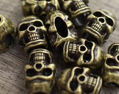 Lot 10 L Metal Pewter Skull Bead Leather Paracord Lanyard Bracelet Jewelry