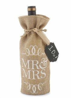 Mr & Mrs Burlap Wine Bag: Honor the newlywed's shared interest while saving the trees! Consider your wrapping done with this burlap wine bag, adorned with a chalkboard tag for easy personalization. Cute Engagement Gifts, Wedding Engagement, Present For Groom, Bridal Shower Wine, Bottle Bag, Wine Gifts, Wedding Gifts, Wedding Stuff, Mud Pie