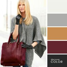 The very nice, bright and chic color mix outfits where the womens handbag is the central detail of fall look. Colour Pallete, Color Combinations, Color Schemes, Maroon Color Palette, Color Palettes, Fashion Colours, Colorful Fashion, Color Bordo, Outfits Damen