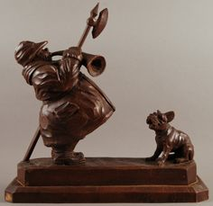 """Hand Carved Black Forest Walnut Watchman with Dog sculpture showing man w/horn, pike & lantern. H 14"""" w 14"""" Circa 1940's"""