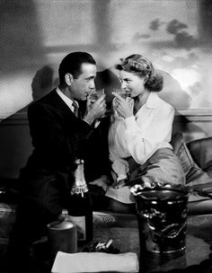 Casablanca photo from the film featuring Humphrey Bogart as Rick and Ingrid Bergman as Ilsa during happier times during the Paris Flashback where they are sharing a glass of Champaign. Old Hollywood, Hollywood Glamour, Classic Hollywood, Hollywood Couples, Humphrey Bogart, Lauren Bacall, Film Casablanca, Ingrid Bergman Casablanca, Casablanca Quotes