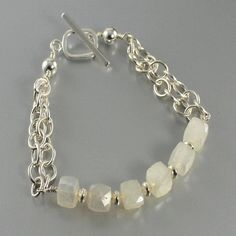 Pearl Chalcedony Sterling Silver Chain Bracelet