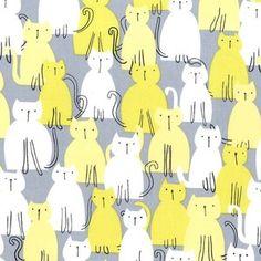 Michael Miller House Designer - Mod Prints - Here Kitty Kitty in Citron