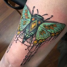Did this above the knee jammer today! #cicada #bugtattoo #bug #neotat #neotrad…