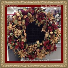 Decorated in jewel tones this made one home dec focal 60inch wreath. Christmas Holiday Collection 2013 designed by Christian Rebollo store 2870