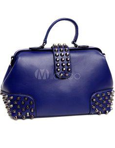 Casual Studded sacola de couro fivela encerramento de mulheres - Milanoo.com