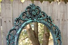Shabby Chic Mirror Turquoise Aqua Blue Black di TheVintageArtistry