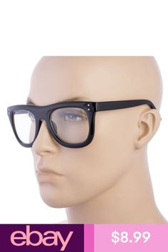cfafb831734c Men Women LARGE VINTAGE RETRO NERD CLEAR LENS EYE GLASSES BLACK FRAME