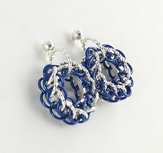 Blue and Silver Chainmaille Earrings by AndrassidyDesigns on Etsy, $12.00