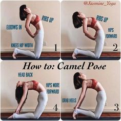 #Repost @jasmine_yoga with @instatoolsapp ・・・ #JasmineYogaTutorial IS BACK! We re-start with #camelpose or #ustrasana Step 1 - Ribs up Start with knees hip width and toes tucks. Hands supporting low back. I like to do this with fingers pointing up. Shoulders away from ears and elbows towards each other. Breathe in. Lift chest. Stretch belly and front body. Step 2 - Hips forward Keep lifting chest and squeezing elbows. Imagine holding a grapefruit between chin and chest. Slightly tuck...