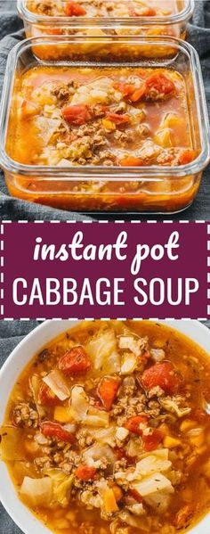 This hearty Instant Pot cabbage soup recipe with ground beef is great for anyone on a keto, low carb, paleo, whole30, weight watchers, or healthy diet. #lowcarb #keto #paleo #diet #pressurecooker #instantpot #soup Reminds me of Polish stuffed cabbage rolls, except this is a simple and easy unstuffed & unrolled version. It's also easy to convert to vegetarian or vegan. pressure cooker recipes / weightloss / detox / fat burning / best / healing / benefits / how to make / gluten free