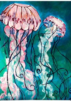 Jellyfish, Acrylic Painting. $45.00, via Etsy.