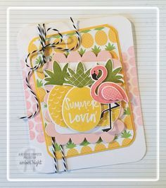 Card by Amber Hight. Reverse Confetti stamp set: Pineapples Aplenty, Whole Lotta Dots and Fabulous Flamingo. Confetti Cuts: Pineapples Aplenty, Fabulous Flamingo, Class Act and Love Note. Quick Card Panels: Piña Colada. Friendship card. Any occasion card.