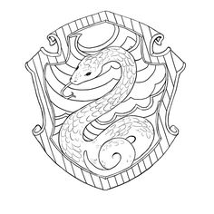 harry potter badge coloring pages | Slytherin crest | Wingardium Leviosa in 2019 | Harry ...