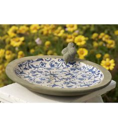 Blue And White Aged Ceramic Bird Bath