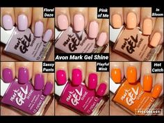 The new Sassy Floral Collection from Avon 💐 Floral Daze 💐 Sassy Pants 💐 Pink of Me 💐 Playful Wink 💐 In Bloom 💐 Hot Catch Shop my UK online Avon Store https:/. Avon Nail Polish, Avon Nails, My Nails, Avon Mark, Cream Concealer, Avon Online, Avon Rep, Nail Pro, Beauty Shop