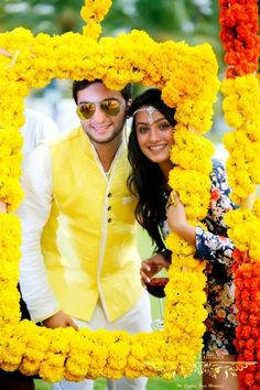The Haldi is usually a smaller ceremony that happens at home or a small hall- so why spend a bomb on doing it up? Here are some cool Haldi ceremony decoration ideas at home/ a small set up, which can . Desi Wedding Decor, Wedding Hall Decorations, Marriage Decoration, Diwali Decorations, Birthday Decorations, Wedding Photo Booth, Wedding Photos, Party Photos, Mehndi Decor