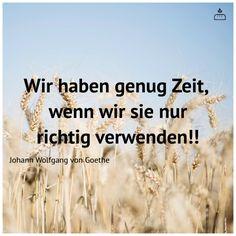 Wir haben genug Zeit,  wenn wir sie nur richtig verwenden!! Johann Wolfgang von #Goethe #Dankebitte #Sprüche #Weisheiten #Zitate #Gedanken