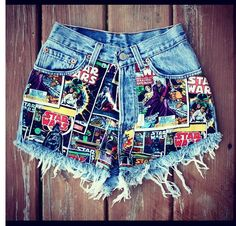 Star Wars high-waisted jean shorts from spikesandseams.com :)