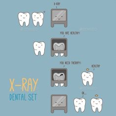 Comics about dental X-ray. Vector illustration for children dentistry and orthod., Comics about dental X-ray. Vector illustration for children dentistry and orthod.
