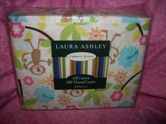 Laura Ashley Children's Room Juvenile Monkey Floral Print Full Sheet Set NIP $35.99 10% off