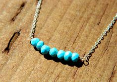 Little Turquoise Stones in a Row  Sterling by AmataArtDesigns, $20.00