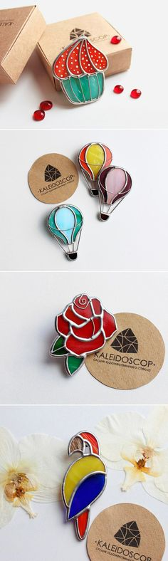 Stained Glass Brooches