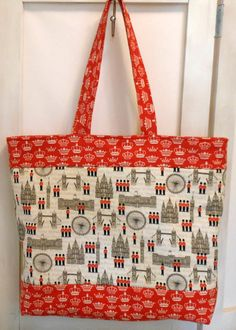 Large Tote Bag London Themed Cream Red and Black by SewHappytoSew, $28.50