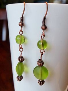 Antique copper and green glass earrings by EllensEclectics on Etsy, $12.00