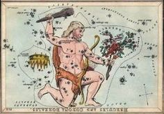 Constellation Hercules as depicted on a set of constellation cards published in London c. 1825. Via Wikimedia Commons.