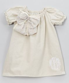 Look at this White Puff-Sleeve Bow Monogram Dress - Infant, Toddler