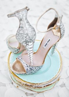 Miu Miu Crystal Heel Shoes